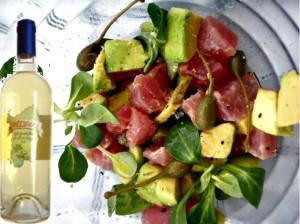 carpaccio di tonno, avocado e zucchine